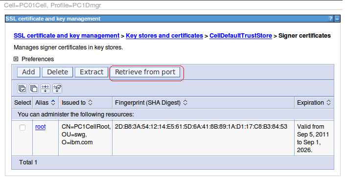 2. Click CellDefaultTrustStore. 3. Click Signer certificates. 4. Click Retrieve from port. 5.