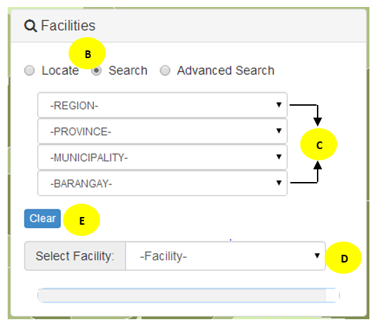 3. Choose from each drop-down (labelled C on the graphic above) to specify the search parameter.