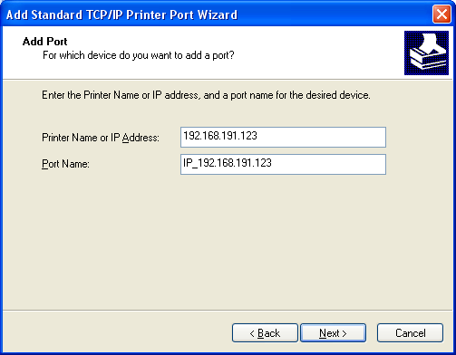 6) Select Standard TCP/IP Port and click New Port... 7) Click the [Next] button in the Add Standard TCP/IP Printer Port Wizard window.