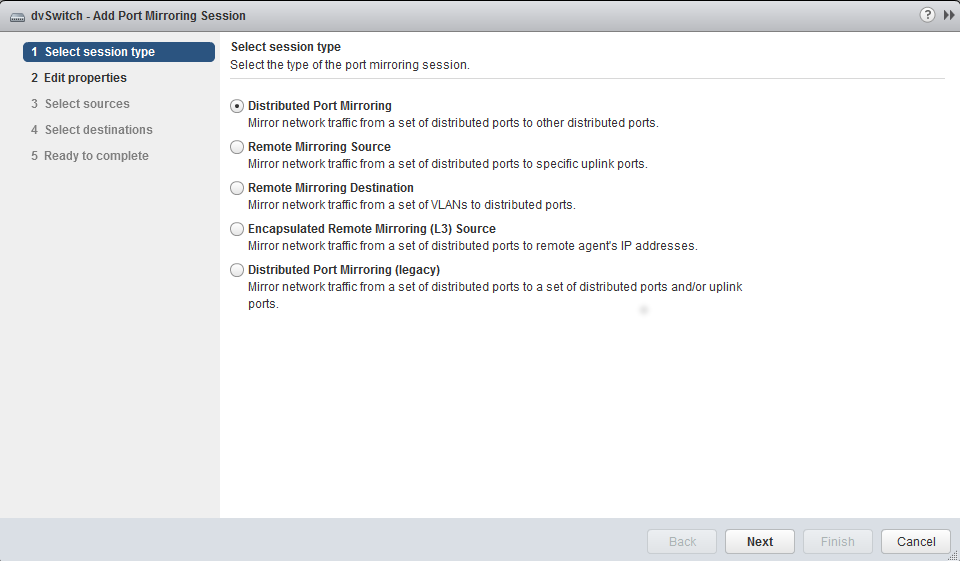 Step 1: Select VDS for Port Mirroring Select the VDS to configure for port mirroring from the list. Navigate to the Manage tab and select Port Mirroring from the settings.