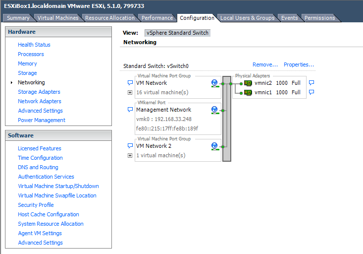 Step 1: Configure Networking Log in to the ESX management portal and navigate to the
