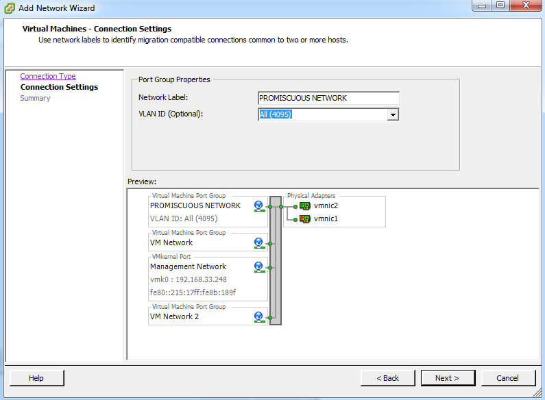 Step 4: Name Port Group and Set VLAN ID Set a descriptive name for the new port group and a VLAN ID, if desired.