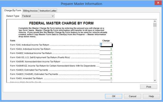 Set Master Forms Defaults Once you make all of your Master Info selections, the Setup Wizard prompts you to set defaults for various forms you use in your practice.