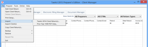 Import TaxAct Returns 1. Click File > Import > TaxAct 2014 Client Return(s). 2. Click Select All to import all returns in the directory, then click Import.