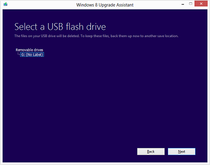 If you chose to create a USB flash drive, select the USB flash drive from the list and click Next.