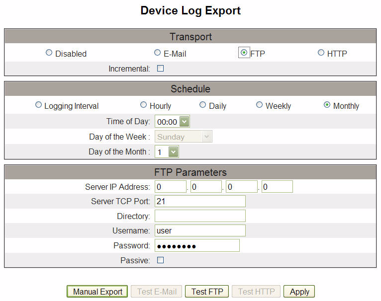 FTP Export 2. Select FTP as the mode of transport. Opens the FTP device log export options. 3. Enable the Incremental check box.