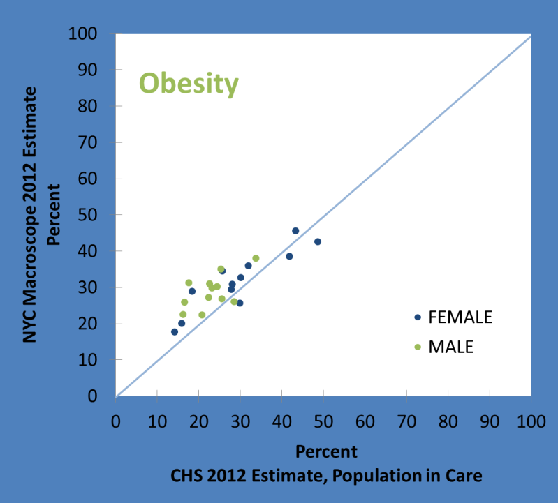 Comparison of NYC Macroscope 2012 Estimates of Obesity Prevalence with Reference Estimates for 24 Strata Defined by Sex, Age Group and Neighborhood Poverty Rate CHS