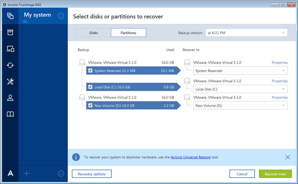 4. In the Backup version list, select the backup version you want to recover by its backup date and time. 5. Select the disks to recover.