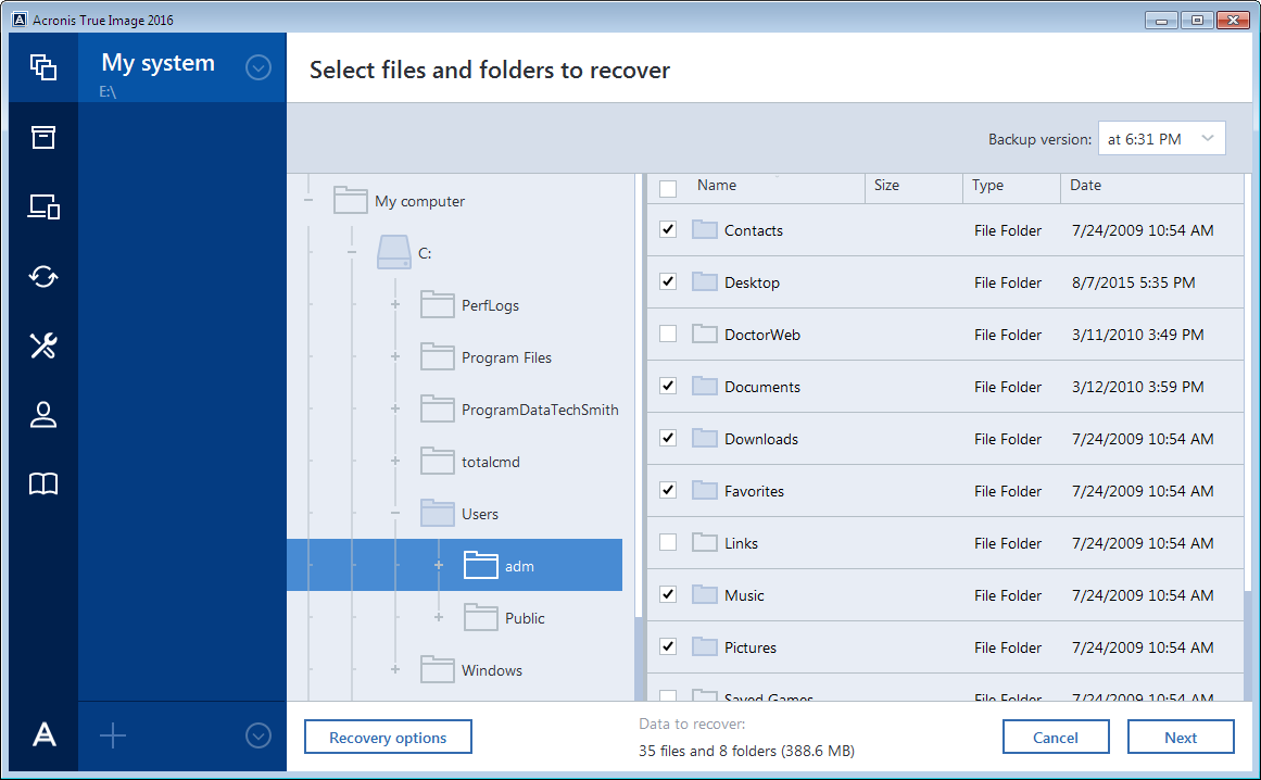 5. Select backup version (data state on specific date and time). 6. Select the files and folders that you want to recover, and then click Next. 7.