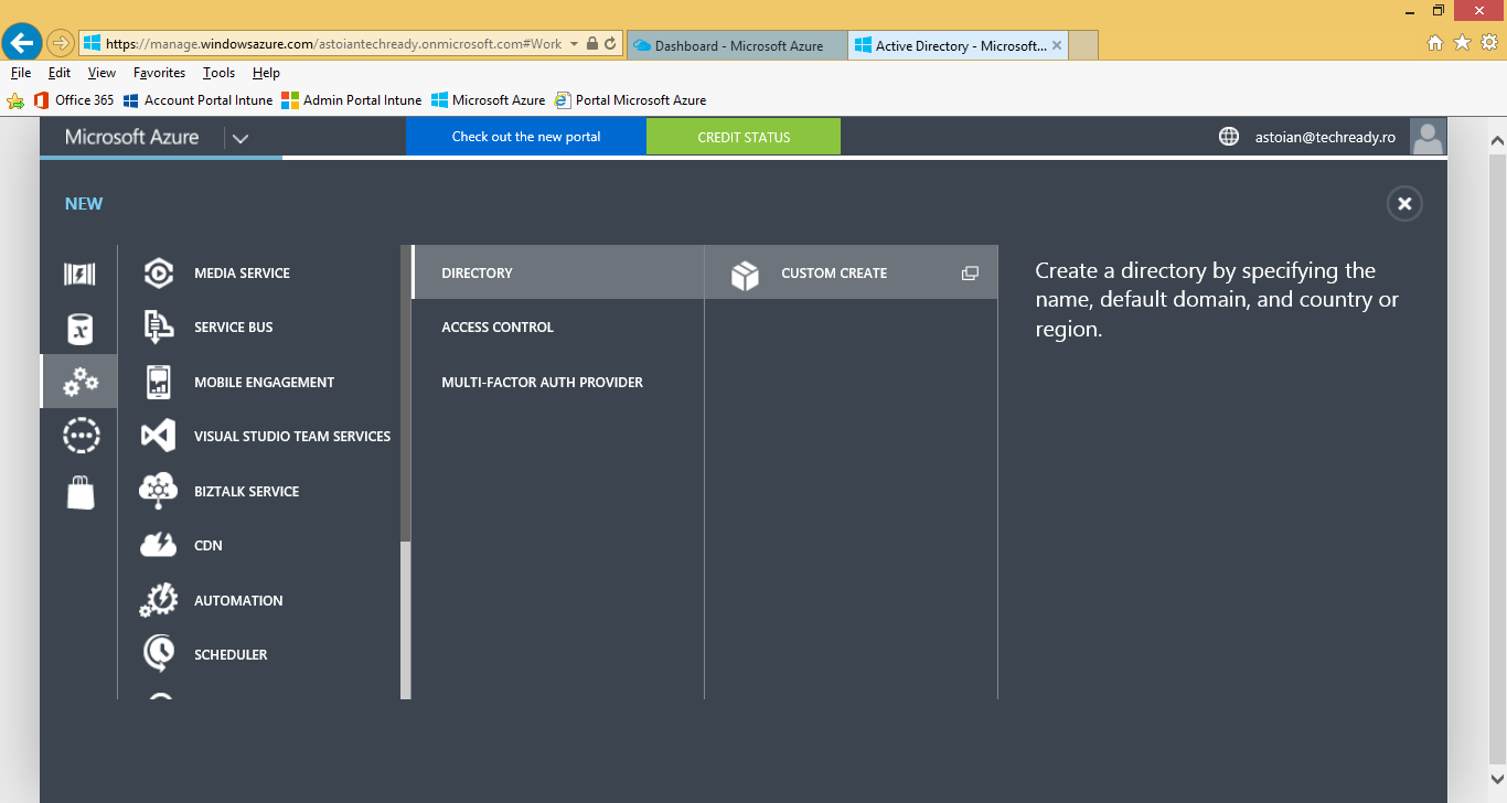 5. On the Microsoft Azure page, on the left pane click Active Directory, to view the Azure Active Directory instances
