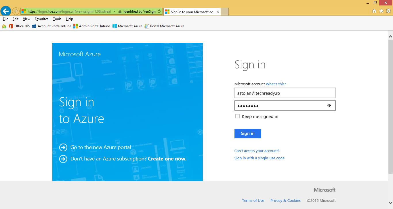 13. Sign in with the Microsoft ID used by your Microsoft Azure