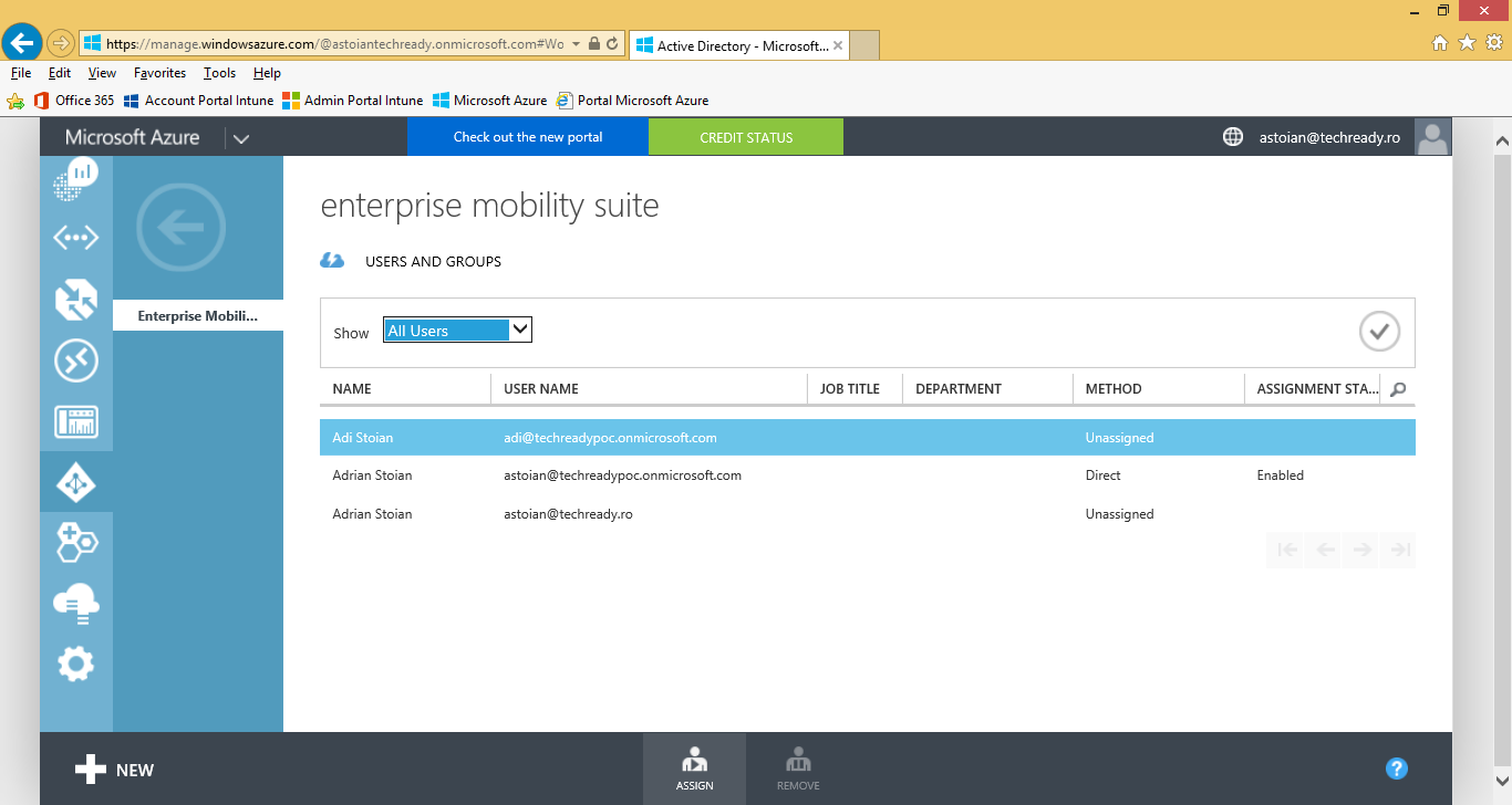 17. On the Enterprise Mobility Suite page, click Assign users. 18.