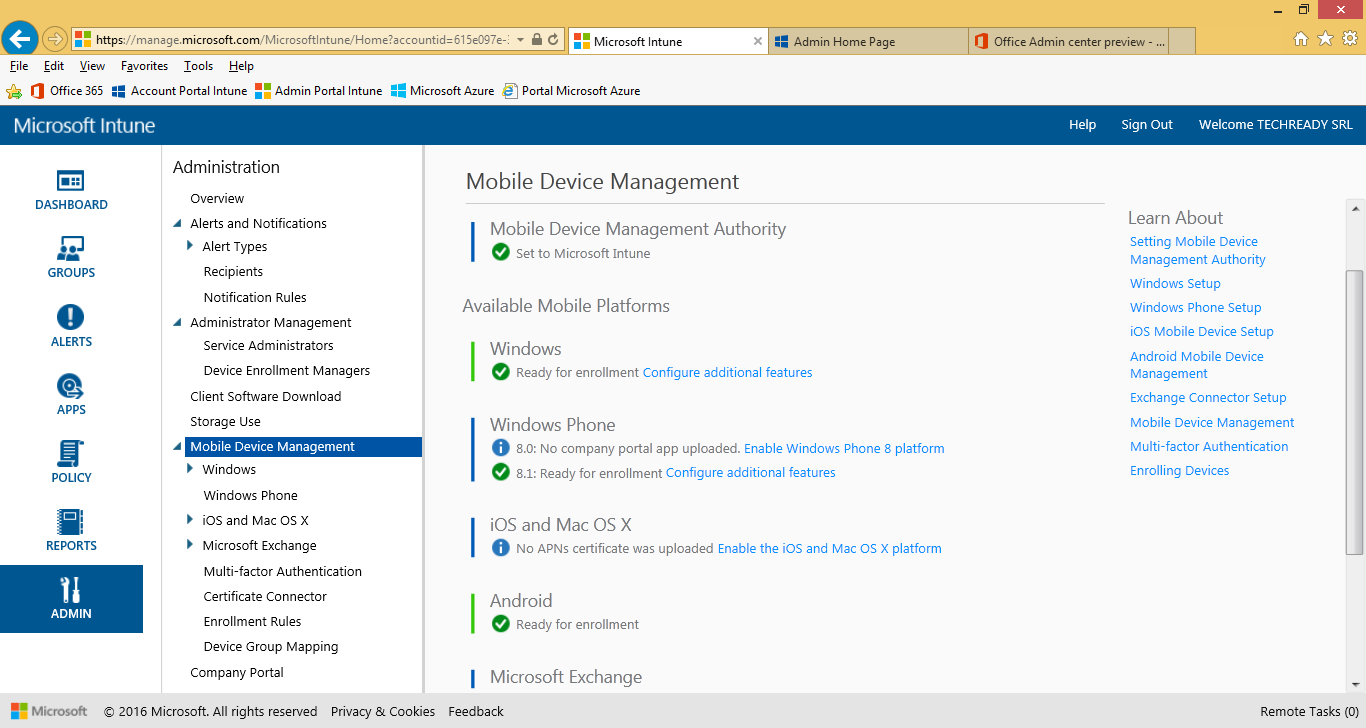 3. On the Manage Mobile Devices dialog, select Use Microsoft Intune to manage my mobile devices, then click OK. 4.
