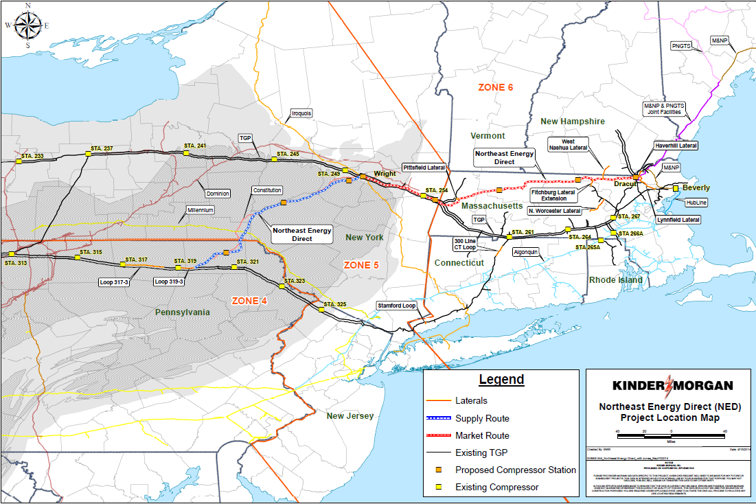 Northeast Energy Direct Project Full Path Transformative NED Project links Large Volume and Prolific Marcellus supplies to New England * Any final route determination is subject to