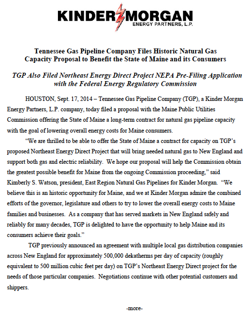 TGP Files Proposal with Maine PUC On Sept.