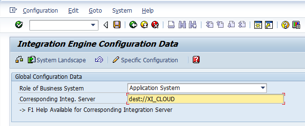 d. Enter RFC destination in transaction SXMB_ADM. Click on Integration Engine Configuration : e.