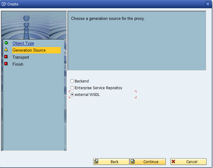 d. Select option: external WSDL, and Continue : e.