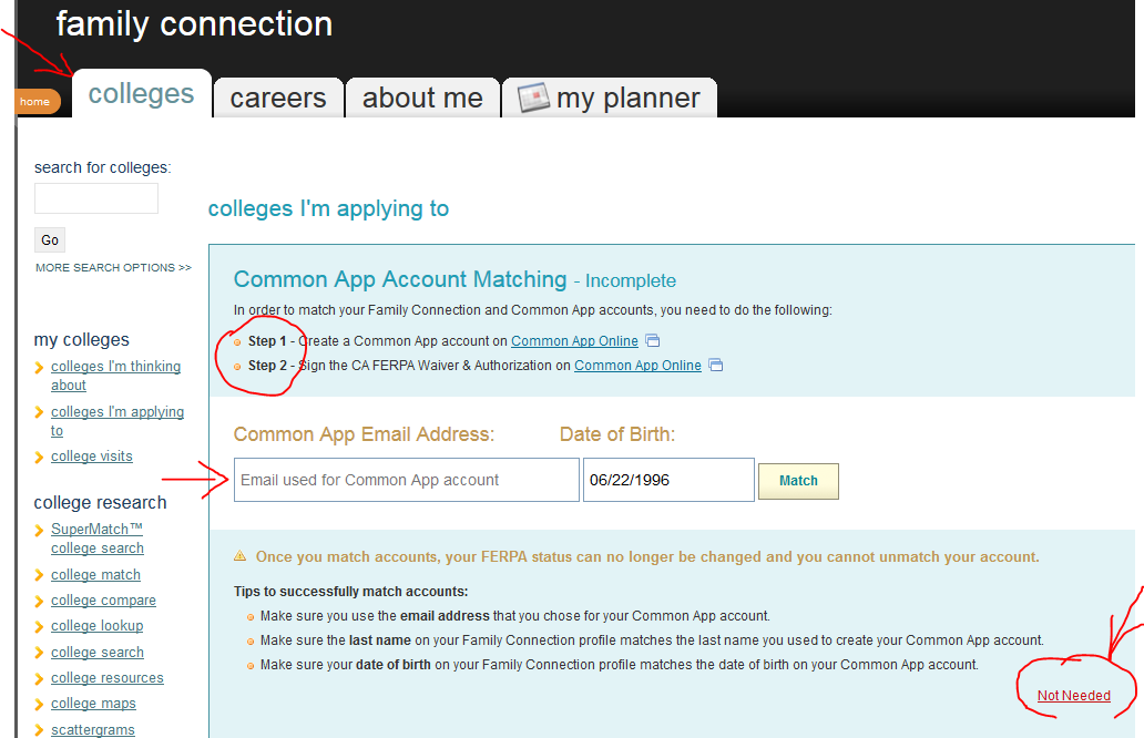 If you are not using Common App, click on Not Needed.