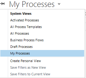 To see a list of all the business processes installed on your system, click or tap the arrow, and then select Business Process