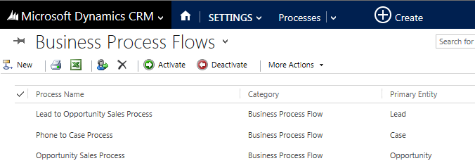 To take a look at the stages and steps in a business process, click or tap the name on the list to open the business process editor.