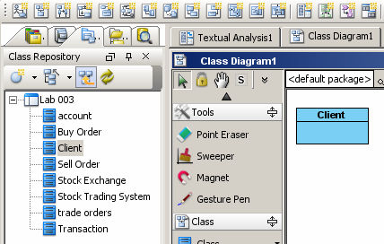 Step 4: Identification of Associations between Classes Create a new Class Diagram (refer to lab 1).