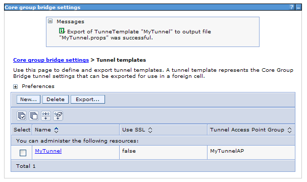 Make sure the export was successful. The MyTunnel.props file is created and placed in the <WAS_HOME>/dmgr_profile directory.