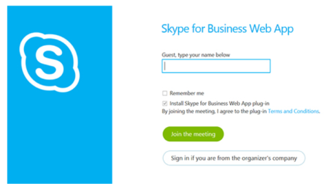 Using the Skype for Business Web App to join a meeting (external guests) The Skype for Business Web App allows non-university staff or students who don't have a full version of Skype for Business to