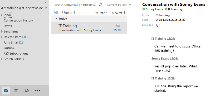 Conversation History Skype-fB conversations are saved by default.