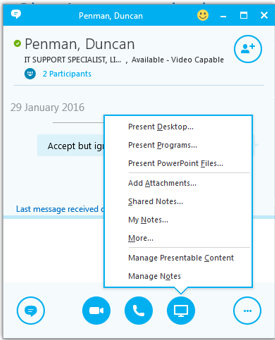 Starting an unscheduled meeting For spontaneous meetings, the Meet Now feature in Skype for Business allows you to hold impromptu meetings without the need to schedule in Outlook.