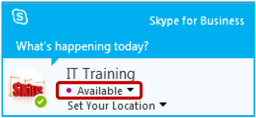 If your Outlook calendar is set to Out-of-Office, but your Skype presence is set to Available (for instance, when you are working from home), there would be a purple dot displayed beside the status,