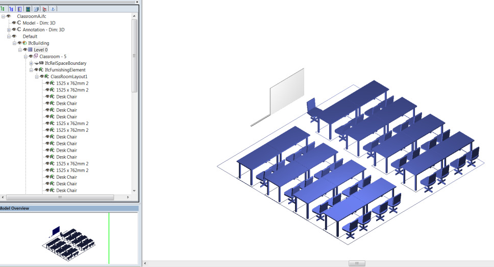 Figure 23: The Assembly is located within a space with walls, a slab and a door Figure 24: The owning ClassRoomLayout and the owned furniture have
