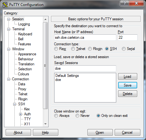 Figure 1: An example of PuTTY with saved sessions, showing the doe saved session. 2.1 Preparation 1. Log in to the Linux server on which you want to create a VNC session.