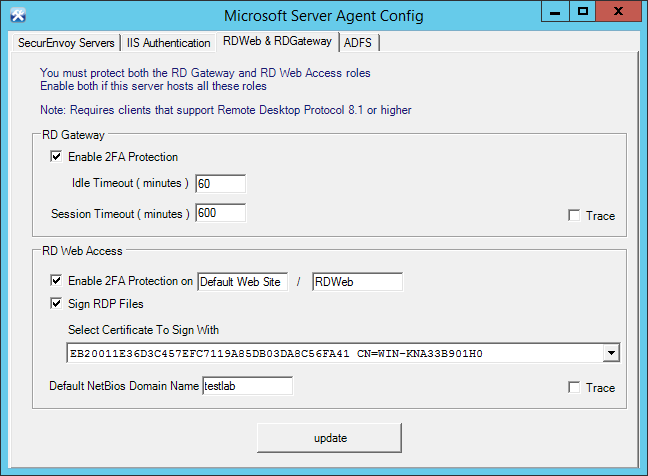 1.1 Configure the Microsoft Server Agent Select the SecurEnvoy Servers tab. Configure your SecurEnvoy Server 1 IP address and Shared Secret. Once complete, press the Test Server 1.
