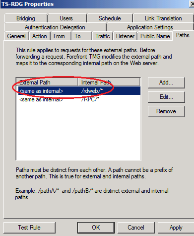 Figure 11: Add the /RDWEB path as an additional allowed path As a final step we must configure the Trust for Delegation settings.