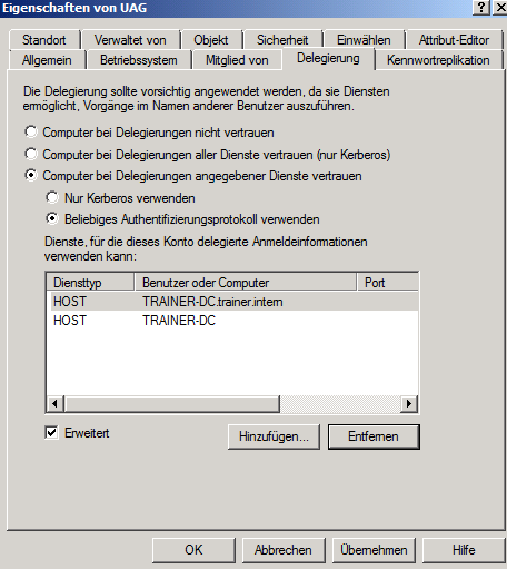 Figure 12: Trust the RD Gateway for Kerberos Delegation The configuration of Forefront TMG has been finished so we can now configure the Windows 7 client in the Internet to get RD