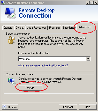 Figure 14: Connect from anywhere Manually specify the RD Gateway settings and as the RD Gateway Server enter the name of the