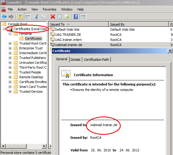 Figure 1: Import the Webserver certificate for TMG publishing As a next step we have to