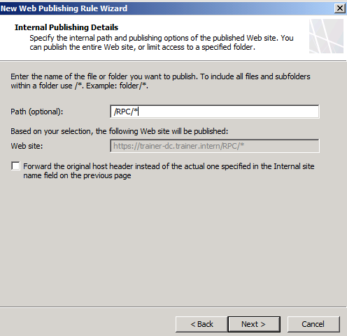 Figure 4: Select the /RPC path to publish Now we have to enter the public