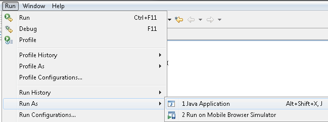 Troubleshooting If you don't see the option Java Application under Run Run As, click in the code editor and try again. Alternatively, you can select HelloWorld.java in the Package Explorer view.