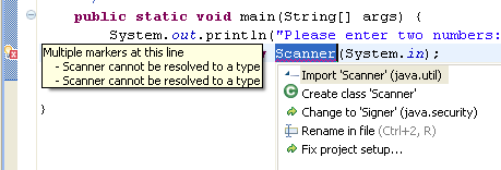 Note that RAD will complain that there are errors on this line. What is the error? Look at the Problems view. RAD does not understand what the Scanner class is.