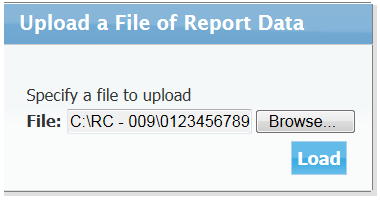 To begin the uploading process, the user should search for the text file by clicking on the Browse button.