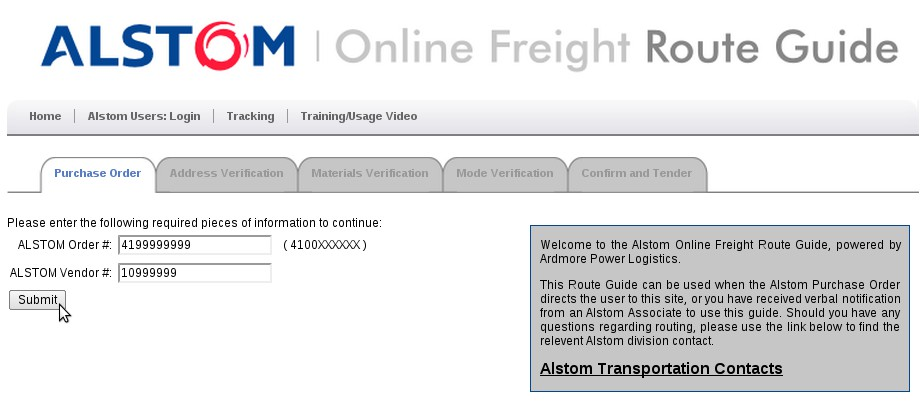 Welcome to the Alstom Power Online Freight Routing Guide!