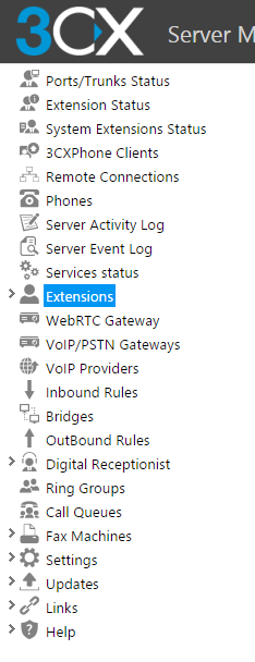 Configure two extensions for your soft-phones. In the 3CX management console select the Extension option and then click on the Add Extension button.