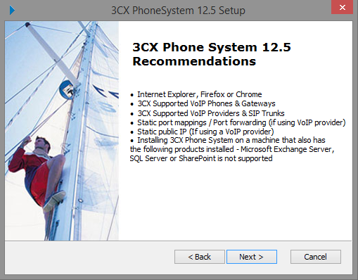 Run the 3CX setup program and follow the instructions provided by the installation program.