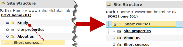Figure 12: Re-instating an Inactive section 2. Click Update. 2.4 Moving a section There are two ways you can move a section.