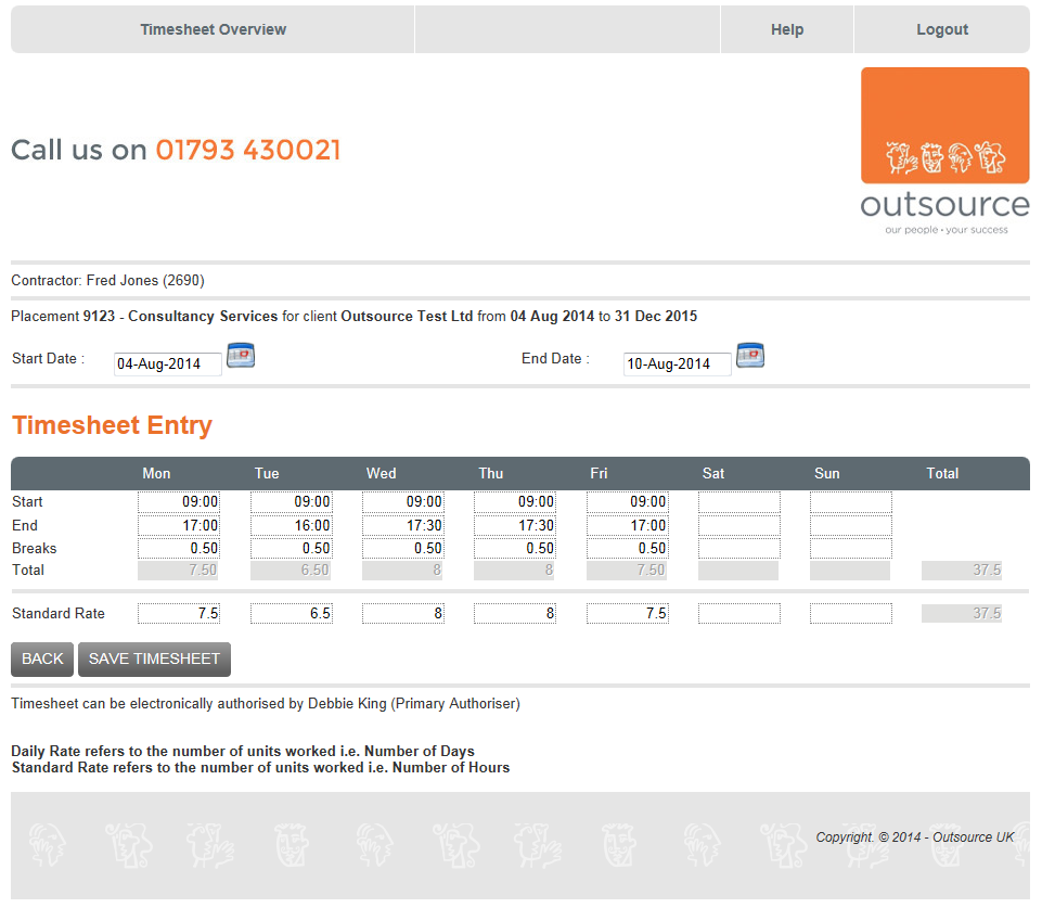 And a Standard rate should look like this:- Then click on the option