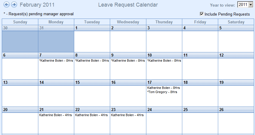 Leave Request Calendar Managers can view approved