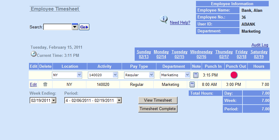 Punch In and Out Timesheet Employees can Punch In and Out, using the system server as a timestamp Punch In form can be assigned to