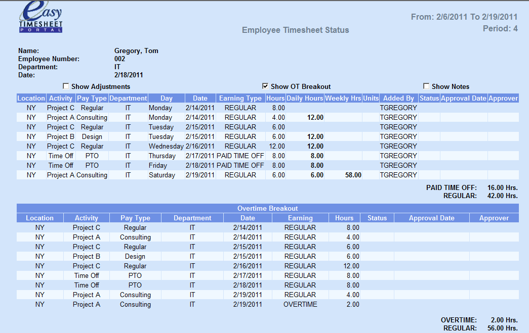 Timesheet Report Employees can view this report to see: Timesheet entries