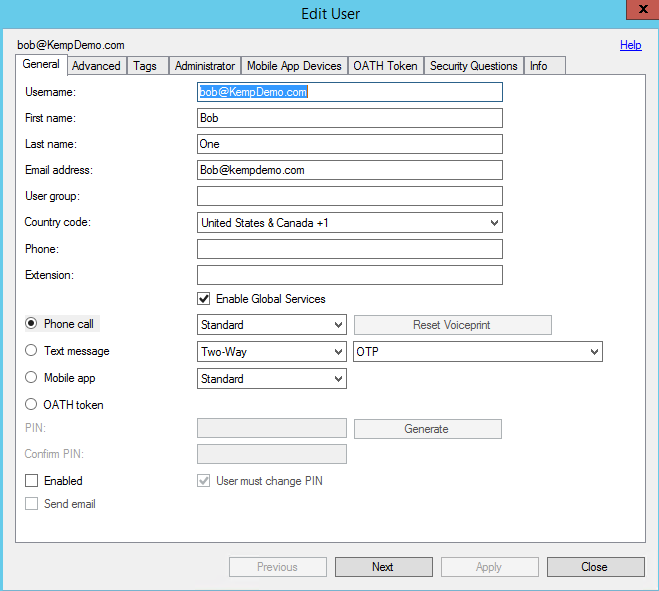 Figure 2-7: Edit User Once imported, you can select a user to set authentication